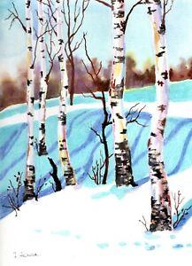 Akimova: BIRCHES,  landscape, winter,