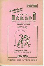 BUVARD PUBLICITAIRE LA PELOTE BASQUE ESKUAL JOKARI / SPORT / FOIRE DE LYON 1956