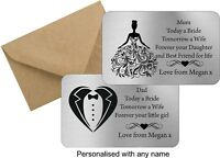 Personalised Wallet Card Mum Dad Mother Father of the Bride Gift Keepsake metal