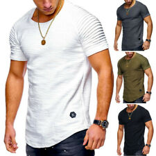 Men's Basic Tee Casual Tops Slim Fit Ruffled Short Sleeve T-shirt Muscle Blouse