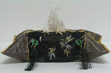 Black Chinese Silk Tissue Box Cover Tassel Bamboo Fzs07