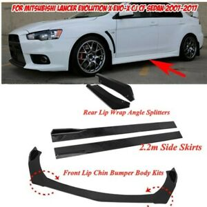 Front Rear Bumper Lip Splitter Spoiler & 2.2m Side Skirt For Mitsubishi Lancer