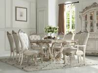 Traditional Antique White Dining Room - 9 piece Rectangular Table Chair Set ICAN