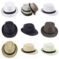 Women Men Braid Fedora Trilby Gangster Cap Summer Beach Hat Sun Jazz Panama Cap