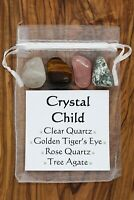 Crystal Child Crystal Gift Set Rose Clear Quartz Tiger's Eye Tree Agate Gaia