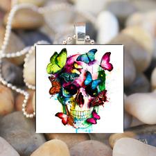 Tile Pendant Necklace Skull Jewelry Glamorous skull Flower Butterfly Art Glass
