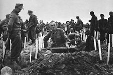 Photo WW2 - NORMANDIE - Les prisonniers allemands enterrent les morts