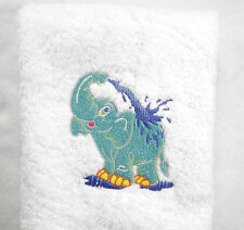 Personalized Elephant Splashing Water  White Embroidered Hand Towel 100% Cotton