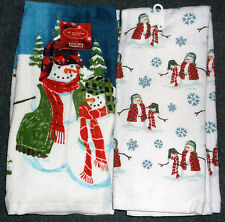CHRISTMAS SNOWMEN TOWELS KITCHEN TEA TOWELS SET OF 2 COLORFUL HOLIDAY PRINT