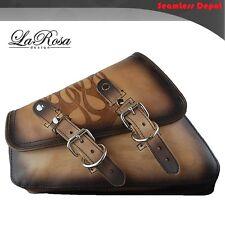 LaRosa Harley Sportster Saddle Bag - 2004 UP Vintage Tan Leather Emboss Flame
