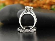 1.00 Ct Forever Off White Moissanite Engagement Ring  band set Sterling Silver