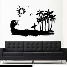 Wall Vinyl Sticker Decal Ocean Water Beach Wind Sun Surf Board Wave Palm Z2981