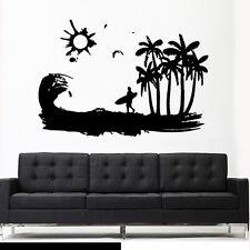 Wall Vinyl Sticker Decal Ocean Water Beach Wind Sun Surf Board Wave Palm Z2981