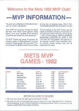 Vintage New York Mets 1982 Prize Coupons Sheet of 8