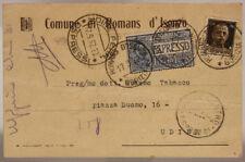 STORIA POSTALE REGNO 1,25 LIRE ESPRESSO 1932 ROMANS D' ISONZO #SP649