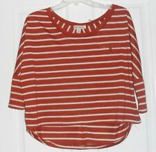 *ONE STEP UP KNIT SHIRT TOP SIZE M JUNIOR  BROWN & WHITE STRIPE STRETCH NWT
