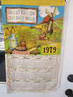 vintage 1979 colorful linen wall calendar towel Give Us This Day Our Daily Bread