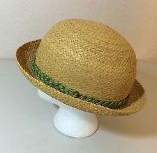 Vintage Straw Hat Italy Genuine Raffia 7 1/4 Green Band Derby