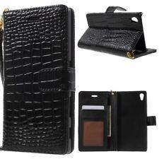 Sony Xperia Z5 Handy Tasche Kroko Skin Crocodile Muster Klapp Etui Cover Schwarz