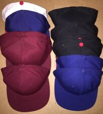 11 Fitted/Snap back hats blank Maroon/Blue/Black/Red s/m 7 1/4 7 3/4 7 5/8 New