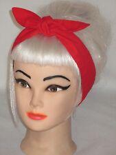 "Hair-wrap Tie Head Scarf Headband Bandana Narrow 2"" Red Black Rockabilly Pinup"