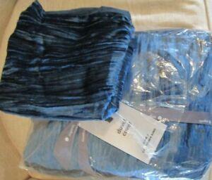 West Elm Crinkle Velvet Duvet Cover King regal  blue 1 euro sham New