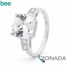 9k 9ct Solid White Gold Solitaire Ring With Simulated Diamond
