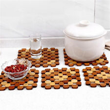 Kitchen Bamboo Hollow Anti Slip Insulation Placemat Pad Dining Table Decor Mat