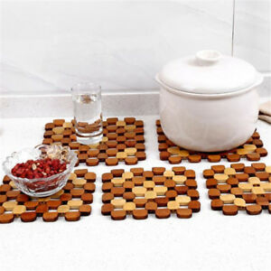 Household Bamboo Square Hollow Placemat Environmental Home Decor Pot Cup Mat ONE