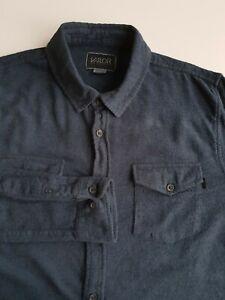 Valor Slim Fit Flannel Plaid Shirt Blue/Black Check Cotton Grunge *M*TR68