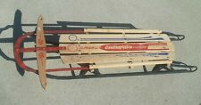 "Vtg WOOD SLED Champion Fastback by Gladding  45"" W Floating Steering ANTIQUE OLD"