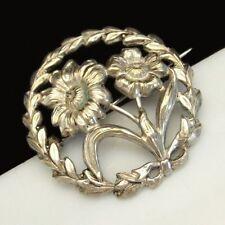 STERLING Silver Flowers Brooch Pin Vintage Open Stamped Design Nice Detail