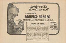 Y7338 Amieux-Fréres - Fruits - Légumes - Pubblicità d'epoca - 1918 Old advert
