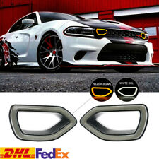 Fits 15-19 Dodge Charger SRT Scat War Horse Pack Grille Smoke LED Light Pig Nose
