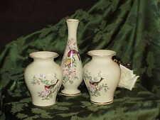"""3 LENOX SERENADE 8.75 Bud Vase & 2 Ginger Jar Vases 5.75"""" Purple Finch 24k Gold"""