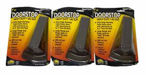 3 Pack Master Caster Giant Foot Doorstop No-Slip Rubber Wedge, 3.5w x 6.75d x 2h