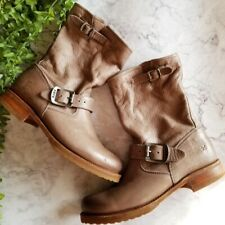 Frye Veronica Short Taupe Leather Mid-Calf Pull On Boots 7