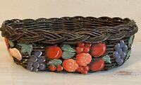 "Vintage Rattan Basket w/ Ceramic Hand Painted Fruit all Around 11""x 9"""