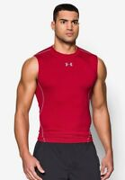 UNDER ARMOUR MENS  HG CORE BASELAYER COMPRESSION T-SHIRT VEST TANK TOP Red B273