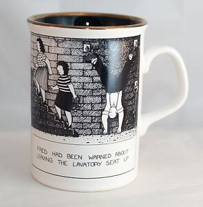 """Rupert Fawcett """"Fred had Been Warned about Leaving lavetory"""" Coffee/Tea Mug/Cup"""
