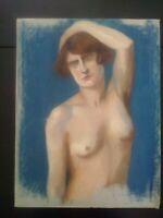 Unique grand pastel curiosa jeune femme nue années 20 - 30 grand format