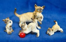 Miniature Bone China 4 Piece SIAMESE CAT FAMILY Figurines