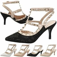 WOMENS PUMPS LADIES SHOES DIAMANTE STUDDED STRAPPY PARTY PROM OCCASION SIZE NEW