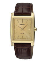 NWOT Men's Seiko SUP896 Gold-Tone & Brown Genuine Leather Solar Power Watch