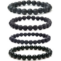 4 Pcs Minimalist Power Yoga Mala Bracelets Black Lava Stone Matte Onyx Men Women
