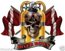 DIVER DOWN SCUBA DIVE SKULL STICKER BUMPER STICKER HELMET STICKER