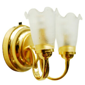 Dollhouse Miniature Wall Lamp LED Retro Style Battery Operated Accessories