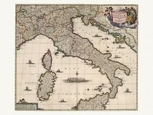 Old Antique Decorative Map of Italy de Wit ca. 1682