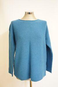 Women's Seasalt Cornwall Size 10 Blue Knitted Jumper Emerald Green Simple Design