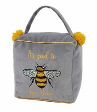 Bee Grey Cube Fabric Doorstop ~ Beautiful Home Door Stop